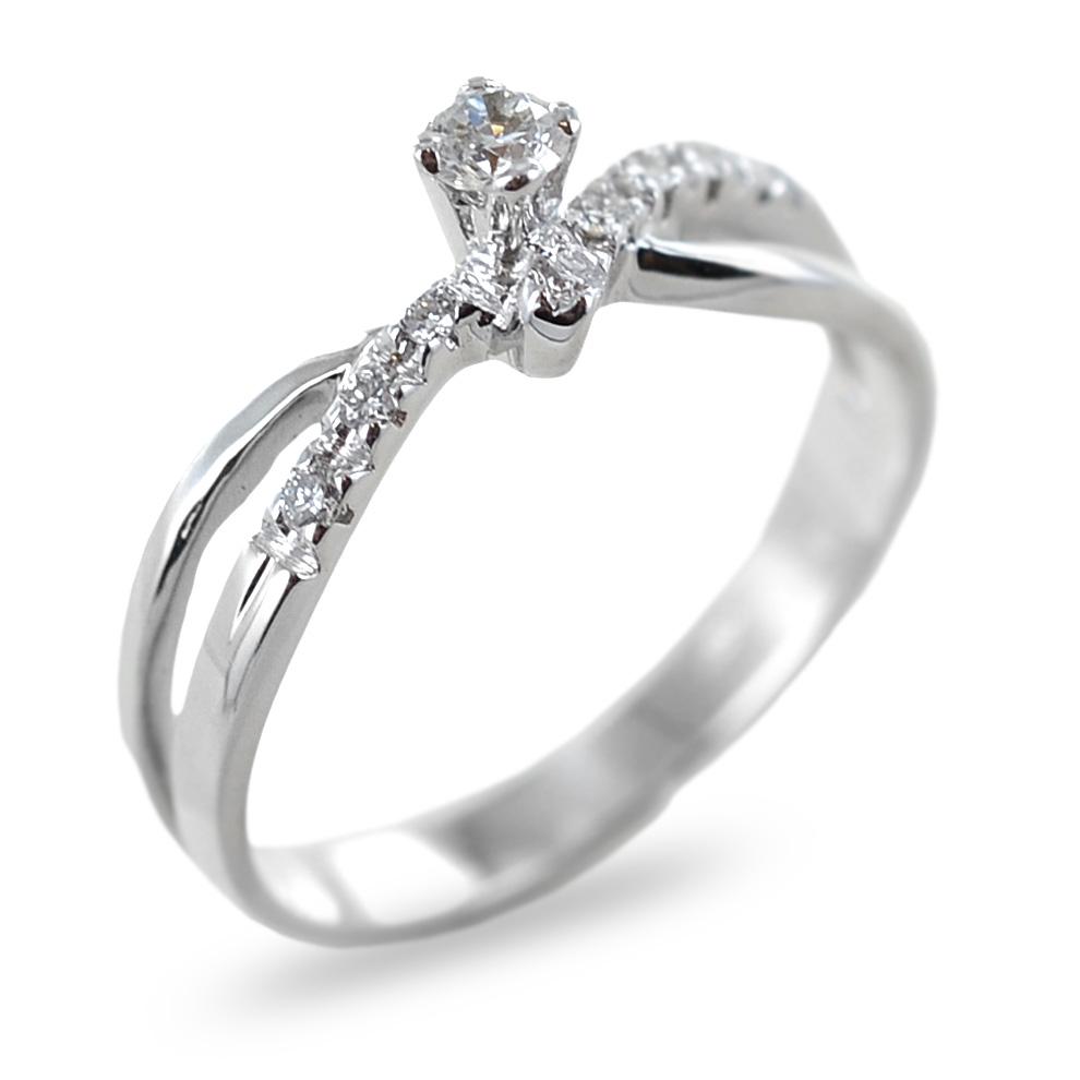 Anello Solitario in oro con diamante collezione Marilyn e diamanti sul gambo colore F
