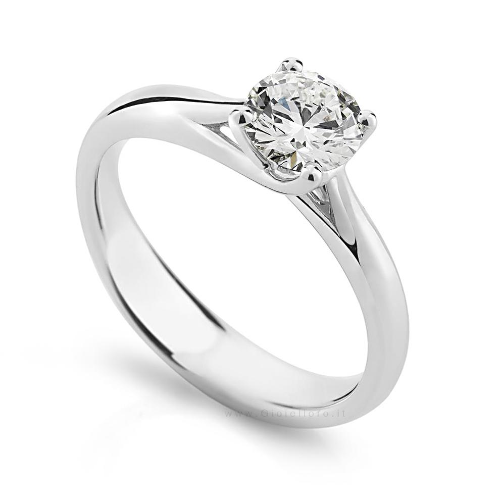 Anello Solitario in oro e Diamanti Dluce collezione Grace