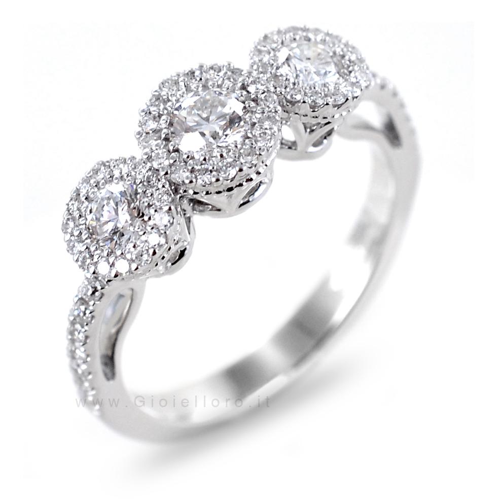 Anello effetto Trilogy in oro e Diamanti Dluce collezione Diva