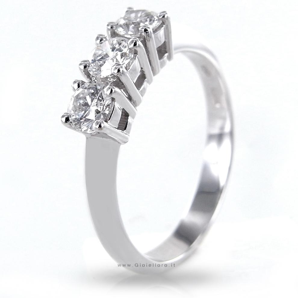 Anello Trilogy in oro e Diamanti per carati 0.60 colore F