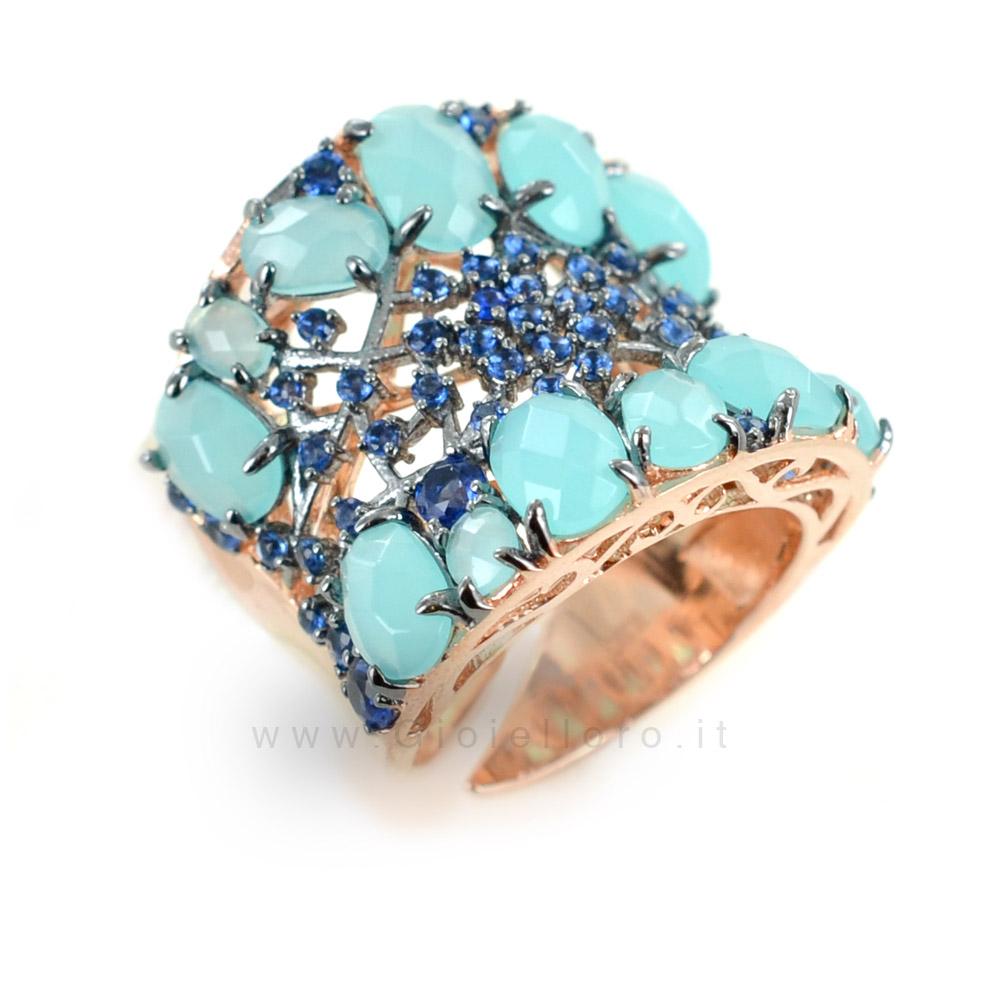 Top Anello Turquoise GIOIELLI SAMUI in argento e pietre preziose  WB73