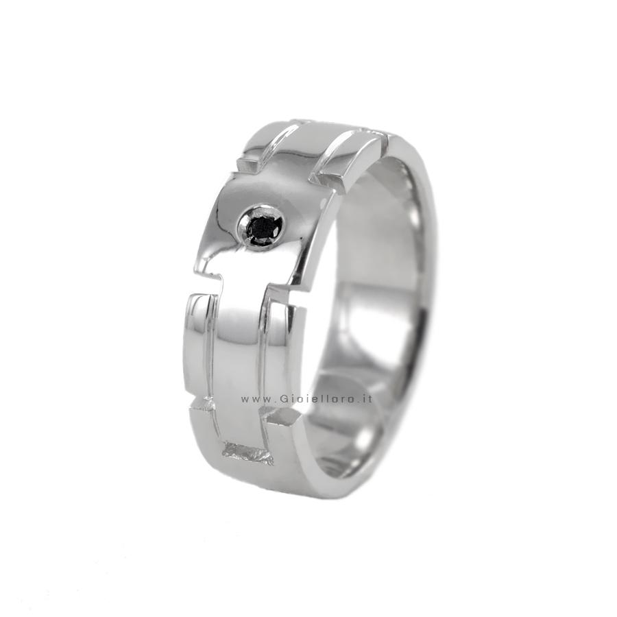 Anello Uomo in argento Orsini Gioielli - Diamante nero 0.03 ct