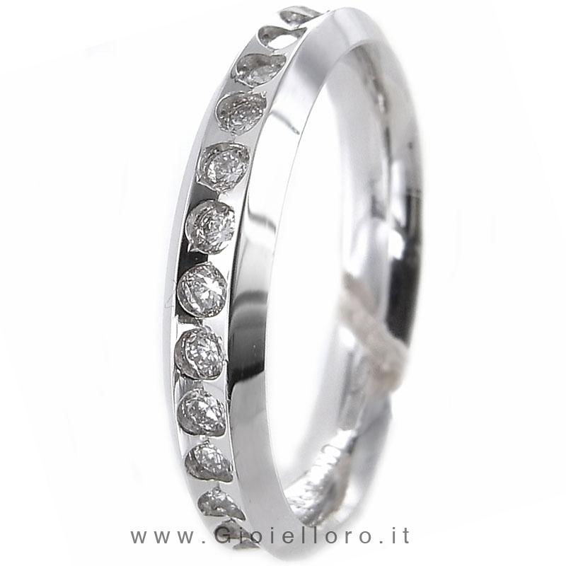 Anello Venere in oro bianco 18kt e diamanti 0.60ct mis 15