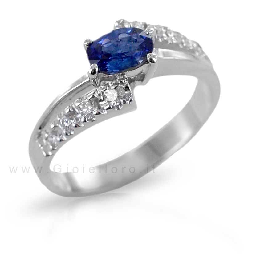Anello Zaffiro ct 0.49 e Diamanti fantasia a doppia fascia