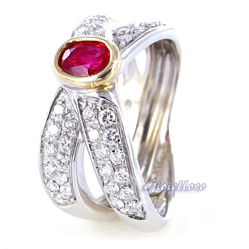 Anello a due fasce in oro bianco con Rubino ct 0.51 e Diamanti ct 0.42