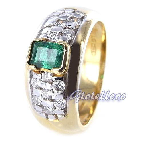 Anello classico in oro due colori con Smeraldo e Diamanti 0.52