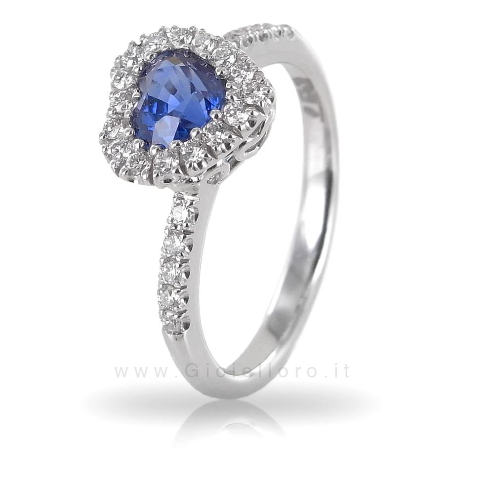 Anello con Cuore Zaffiro 0.73 con Diamanti 0.25 F - Gioielli Valenza
