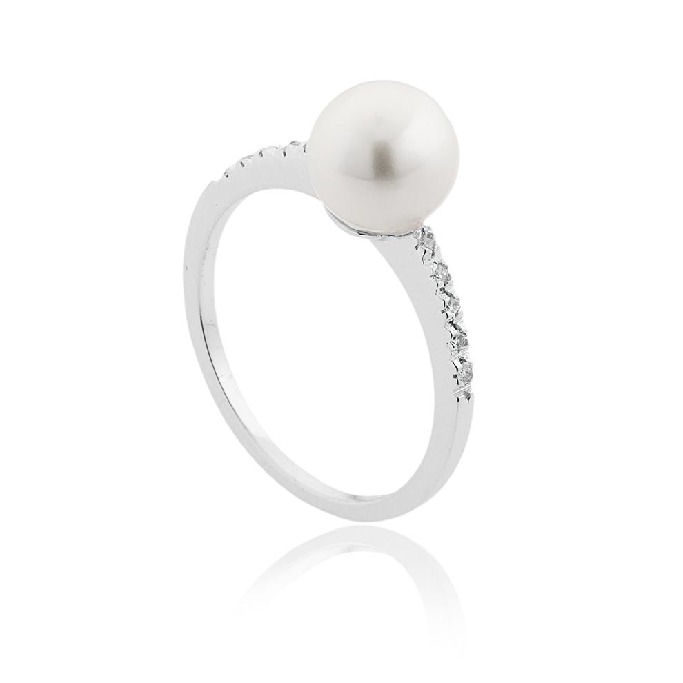 Anello con Perla Akoya 7 - 7,5 e Diamanti