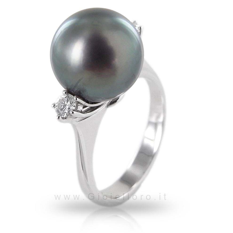 Anello con Perla Tahiti 11 mm e Diamanti - Gioielli Valenza