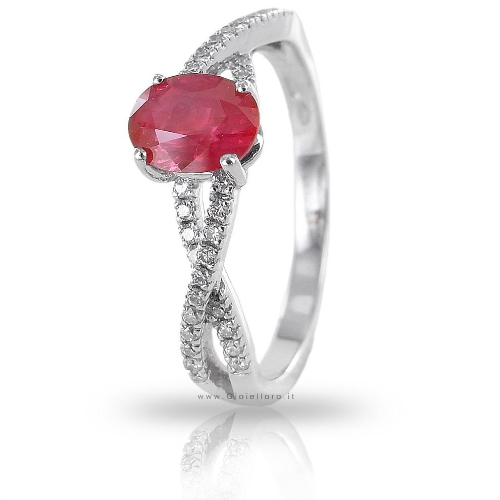 Anello con Rubino Birmania ct 0.61 e Diamanti ct 0.13 G