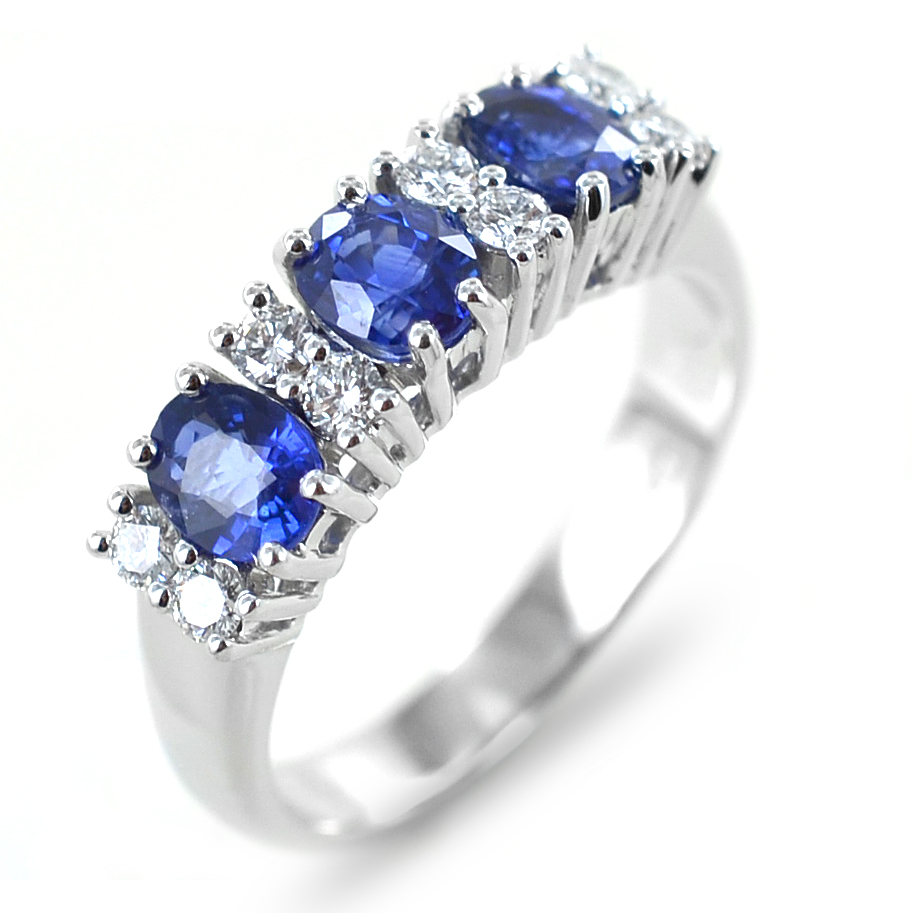 Anello con Zaffiri e Diamanti alternati Gioielli Valenza