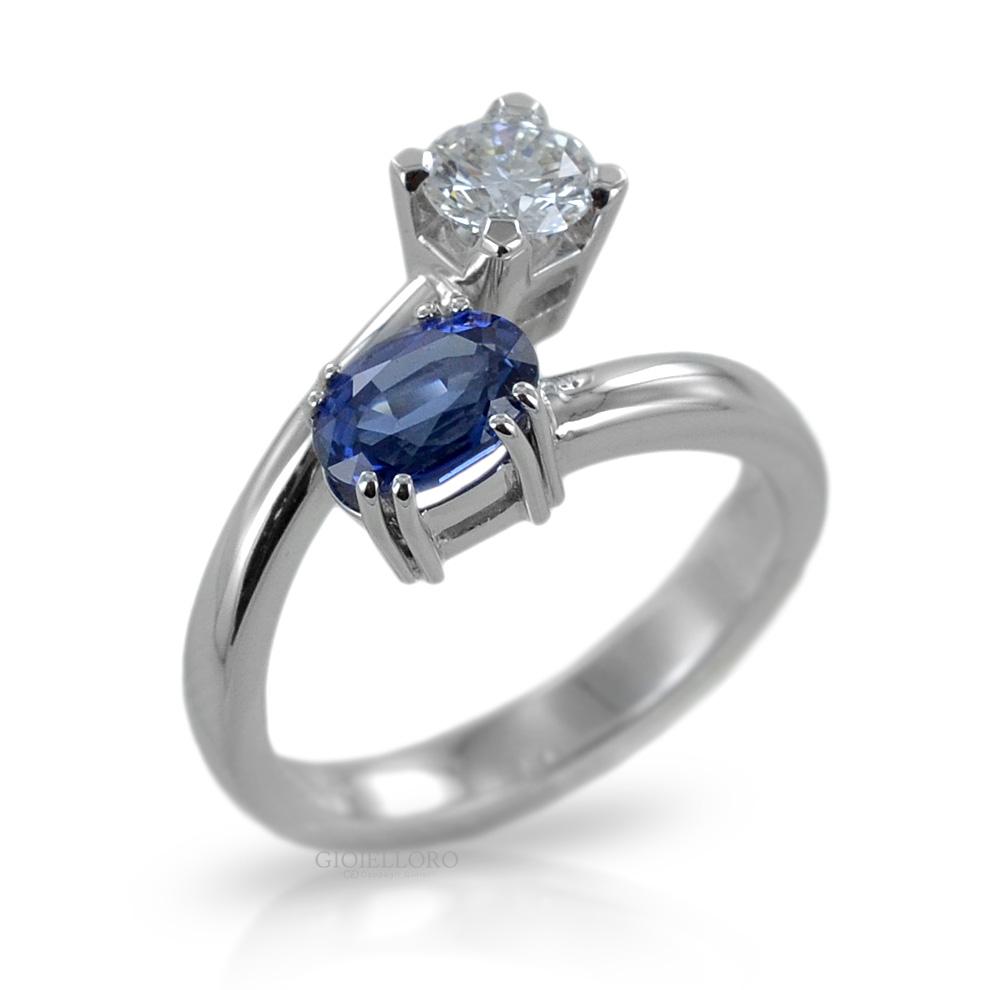 Anello con Zaffiro e Diamanti modello contrariè