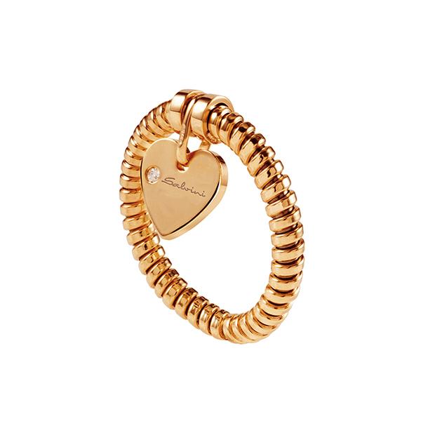 Anello con ciondolo cuore Salvini in oro rosa e diamante MINIMAL POP