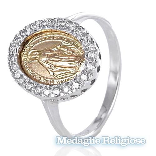 Anello con Medaglia Madonna Miracolosa in oro e zirconi