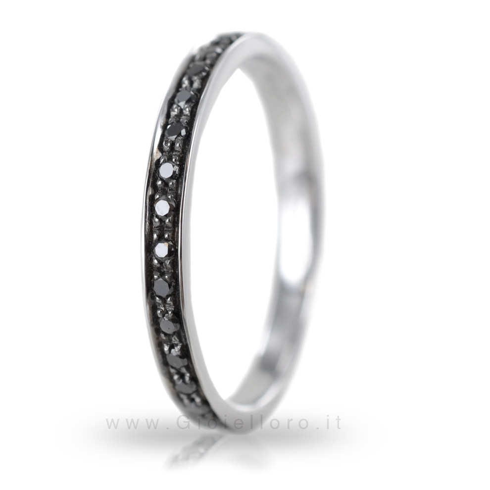 Anello da uomo Orsini oro bianco e diamanti neri