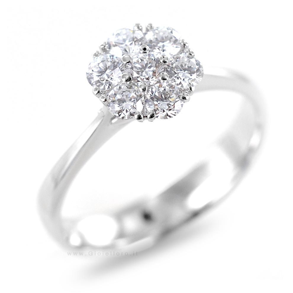 Anello effetto Solitario in oro e Diamanti Dluce collezione 2 Stones
