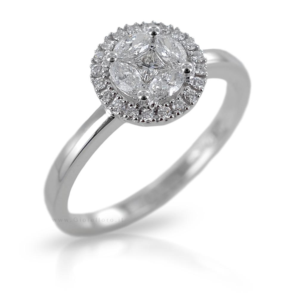 Amato Anelli Diamanti Neri: Anello in oro bianco con diamanti e perla  KZ53