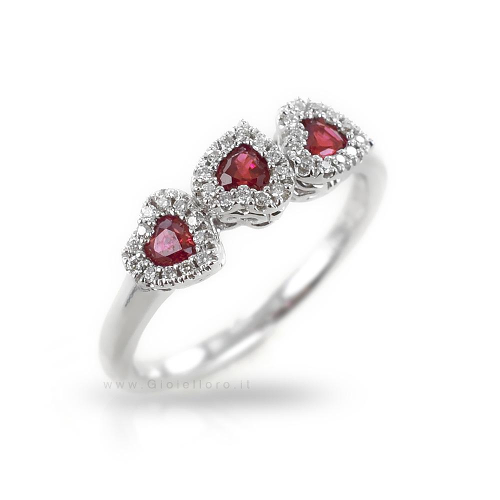 Anello fantasia Cuori con Rubini e Diamanti Gioielli Valenza