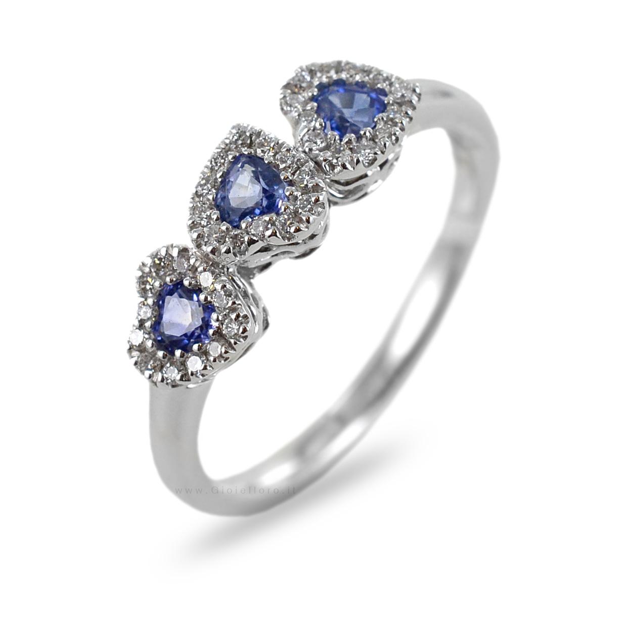 Anello fantasia Cuori con Zaffiri e Diamanti