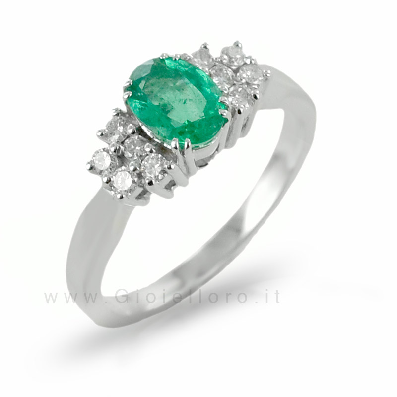 Anello fantasia Smeraldo e Diamanti