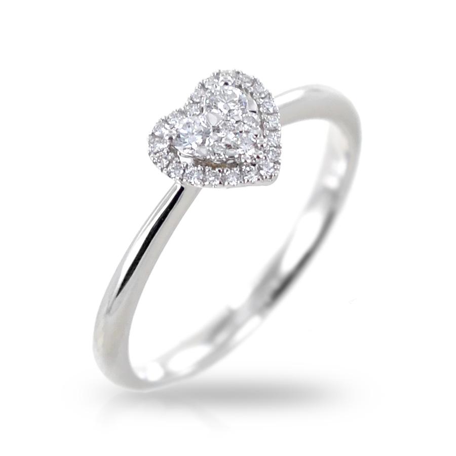 Anello fantasia cuore con contorno di Diamanti Gioielli Valenza