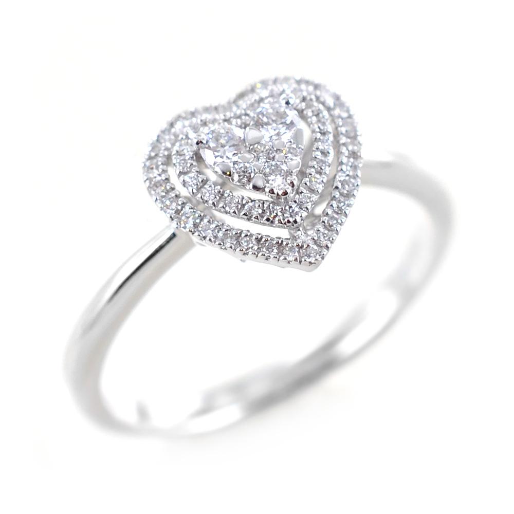 Anello fantasia cuore con doppio contorno di Diamanti