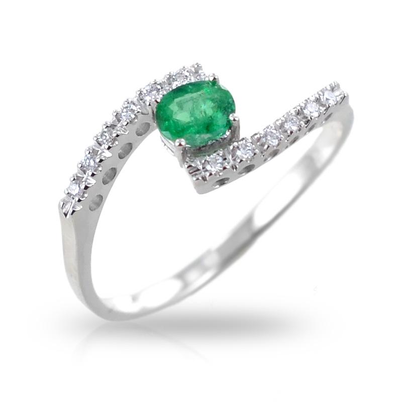 Anello fantasia intrecciato con Diamanti e smeraldo Gioielli Valenza
