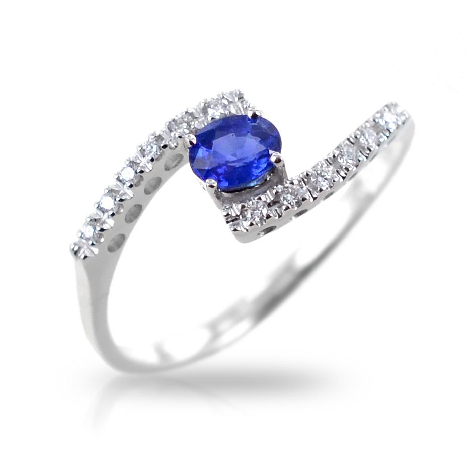 Anello fantasia intrecciato con Diamanti e zaffiro Gioielli Valenza