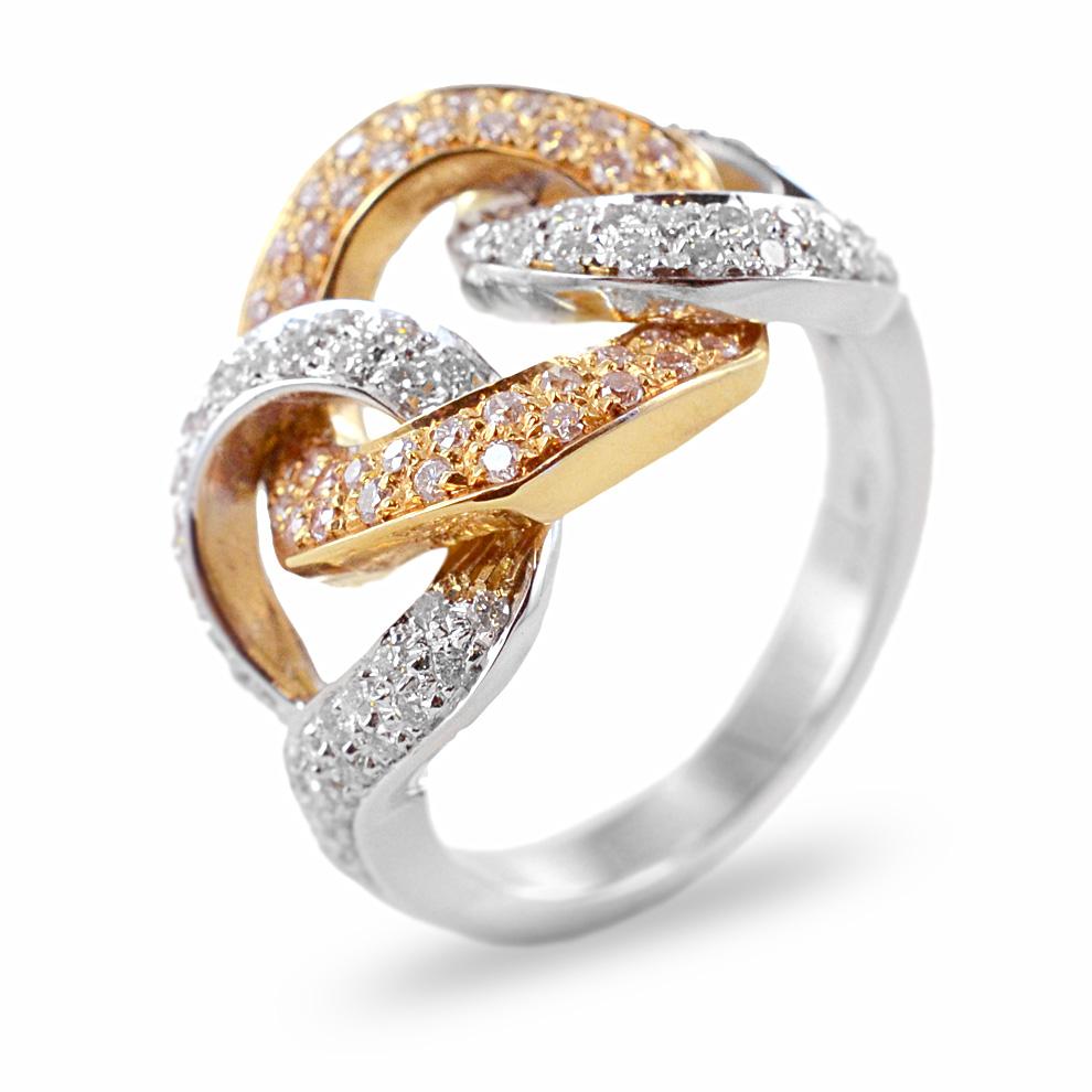 Anello fascia fantasia in oro bianco e rosa con diamanti