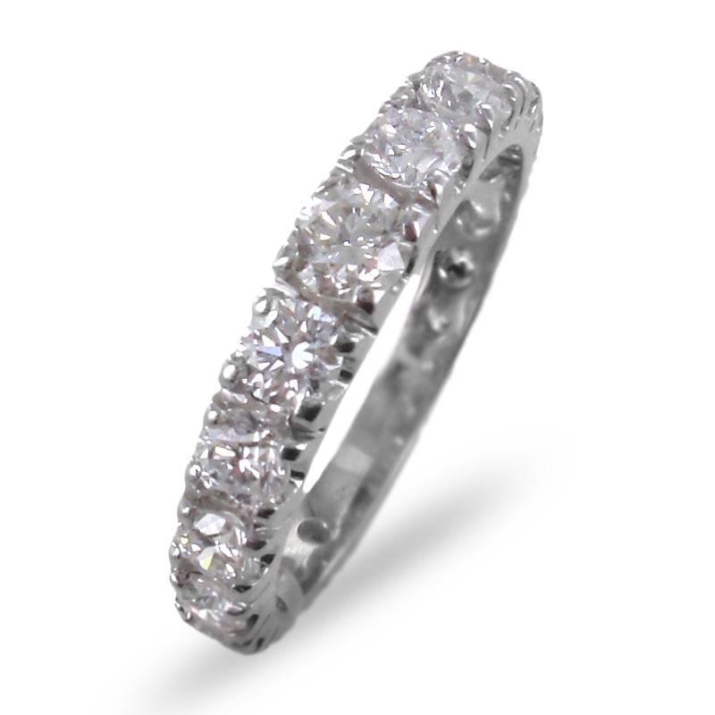 Anello fedina Eternity a scalare in oro e diamanti ct. 1.55 G VS