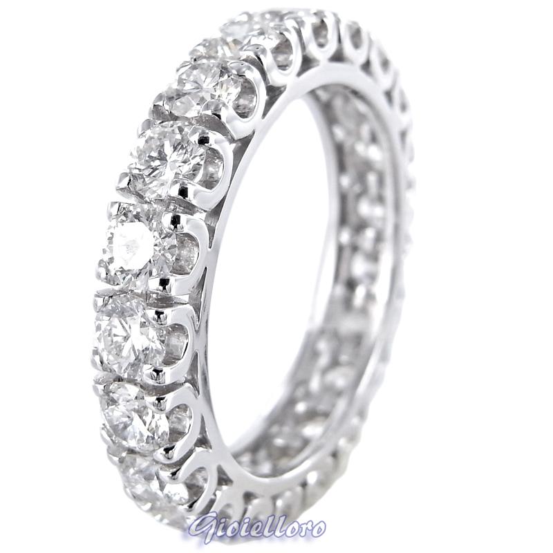 Anello fedina Eternity oro e diamanti ct. 2.50 G