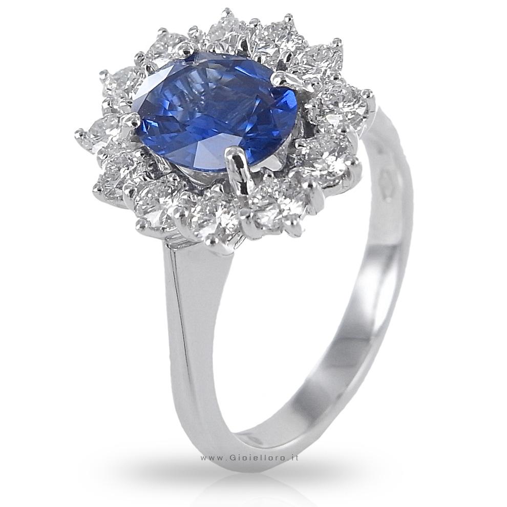 Anello in oro e Diamanti con Zaffiro KANCH centrale ct 1.23