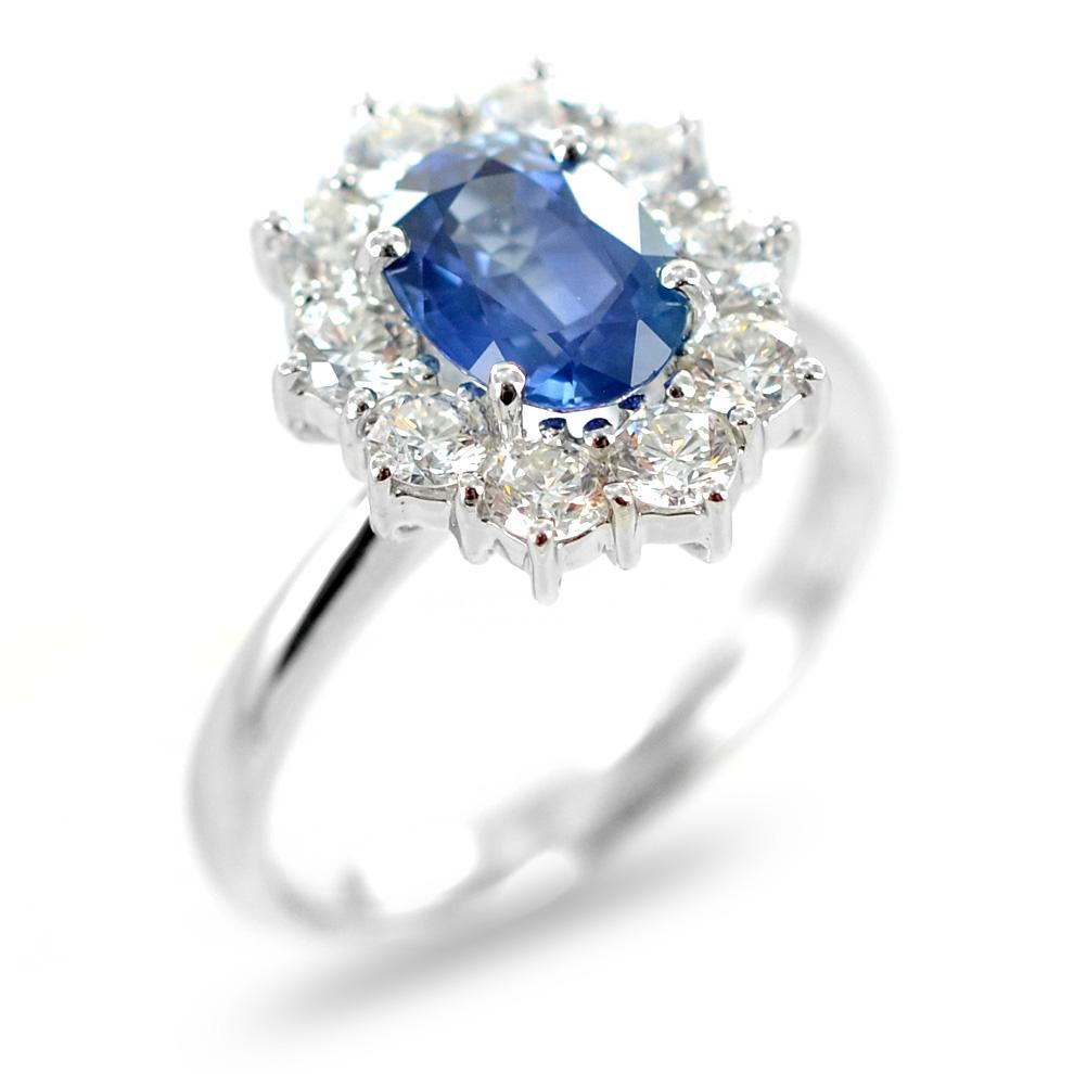 Anello in oro e Diamanti con Zaffiro KANCH centrale ct 1.60 Gioielli Valenza