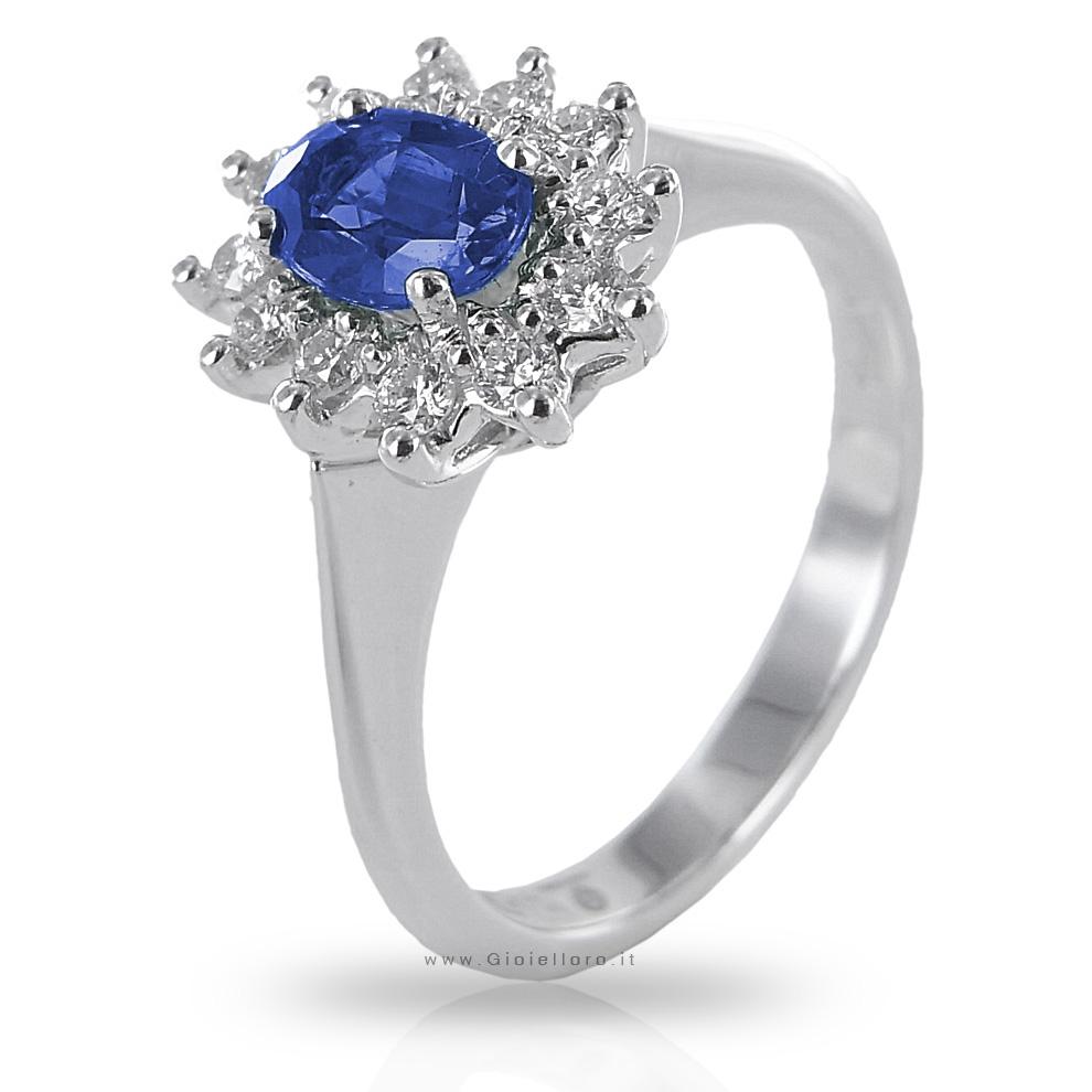 Anello in oro e Diamanti con Zaffiro Kanch centrale ct 0.58 Gioielli Valenza
