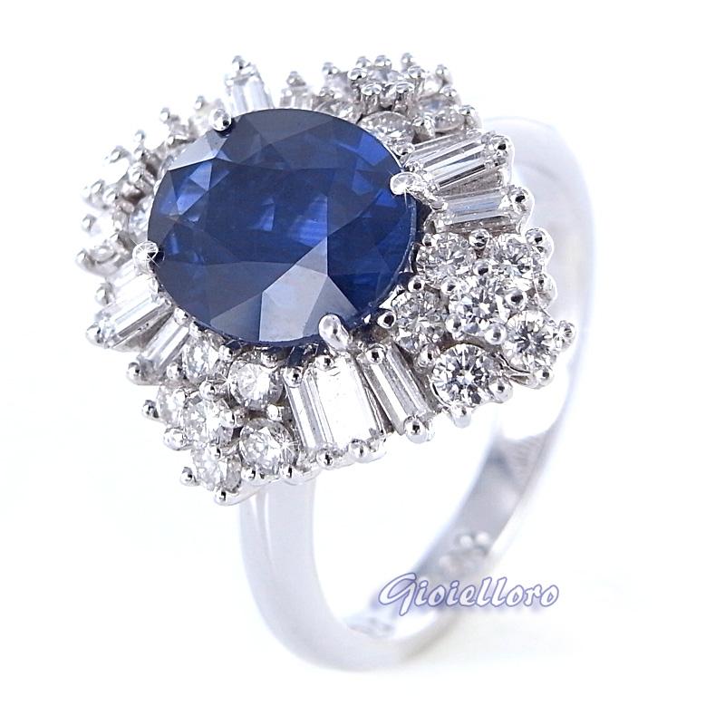 Anello in oro e diamanti carati 0.90 con Zaffiro carati 2.04