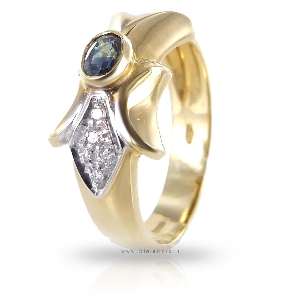 Anello in oro giallo con Diamanti e Zaffiro centrale