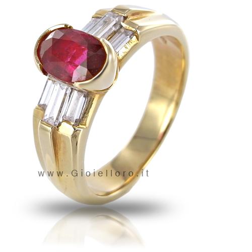 Anello in oro giallo con Rubino ct 1.03 e Diamanti baguette