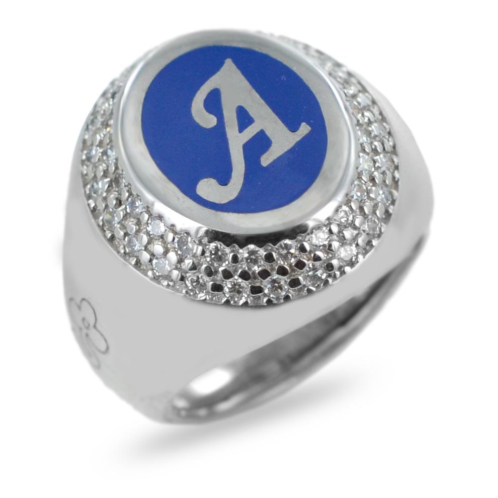 Anello personalizzabile con Lettera A in argento e zirconi e smalto blu