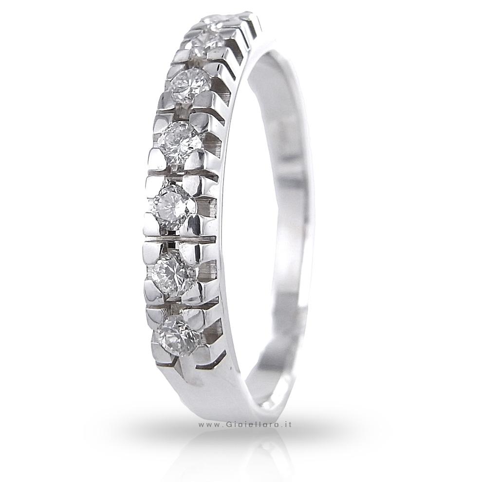 Anello Riviera in oro bianco e Diamanti ct 0.20 colore G