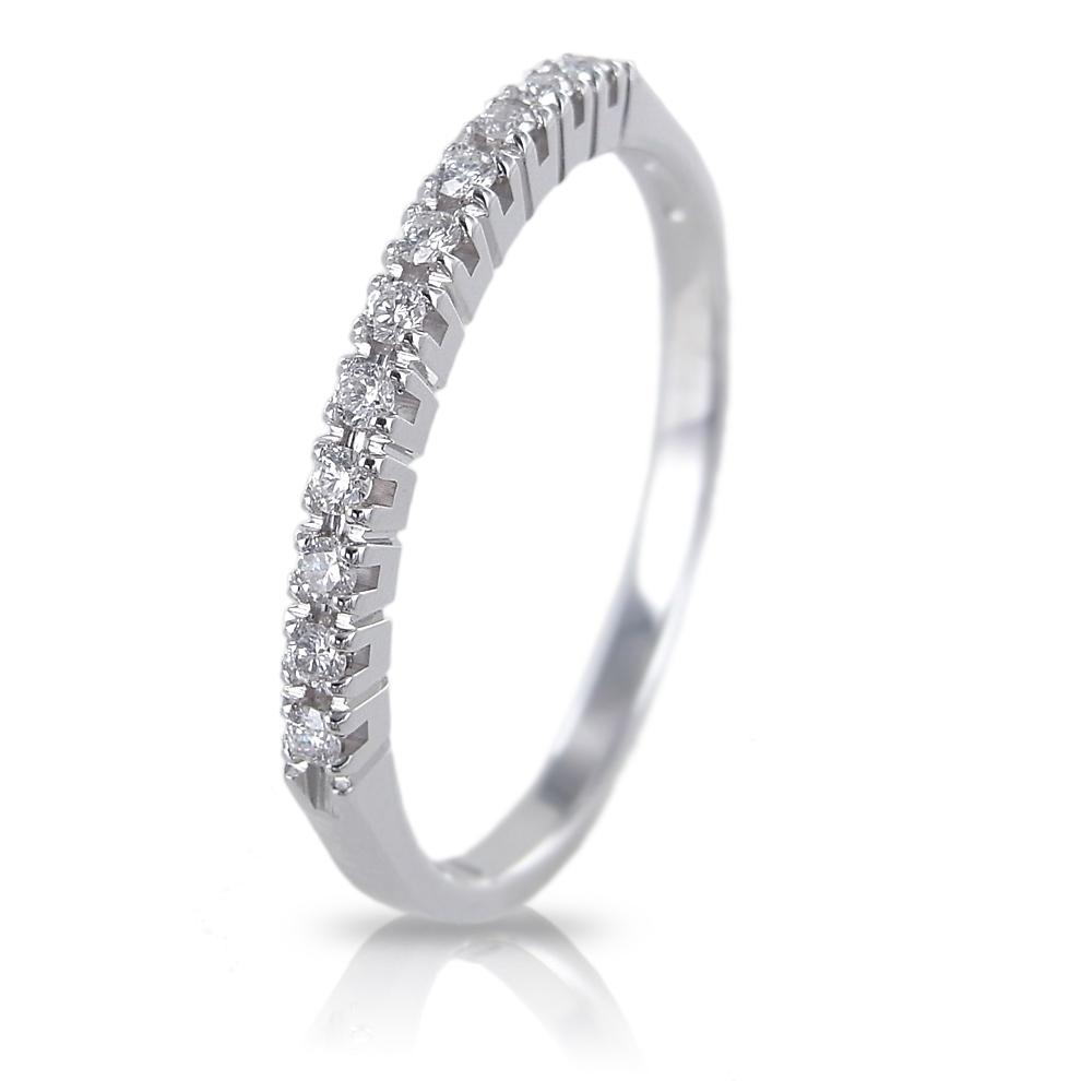 Anello riviera in oro bianco con diamanti ct 0.13 G Gioielli Valenza
