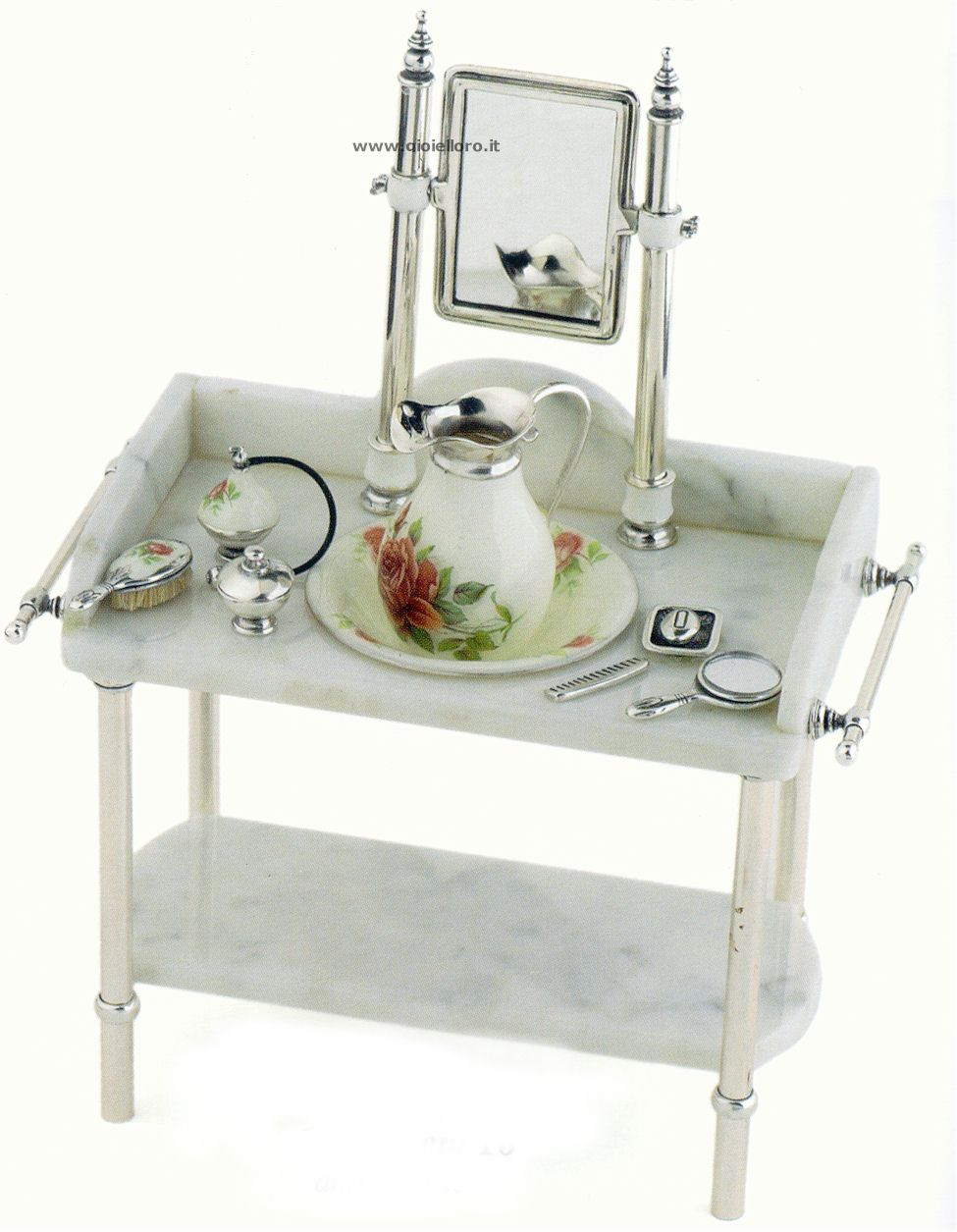 Antica toilette in argento 925/000 e marmo