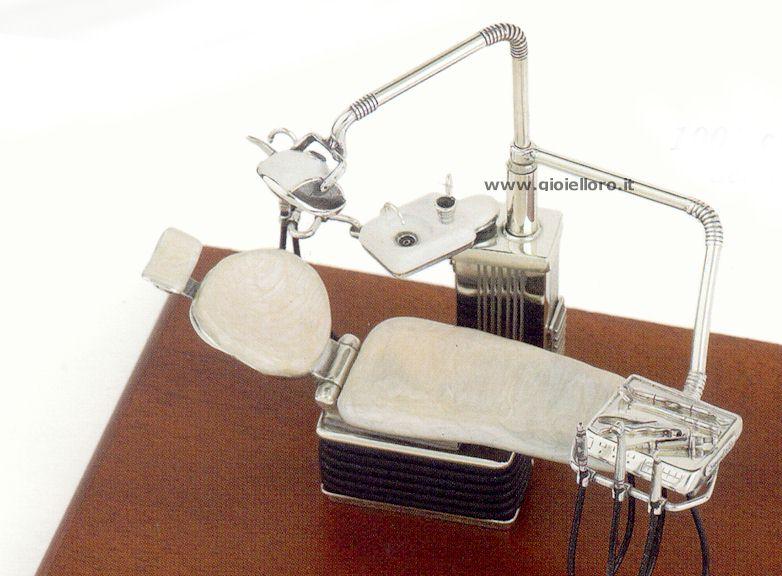 Attrezzi da dentista in argento 925/000 e smalto marmo