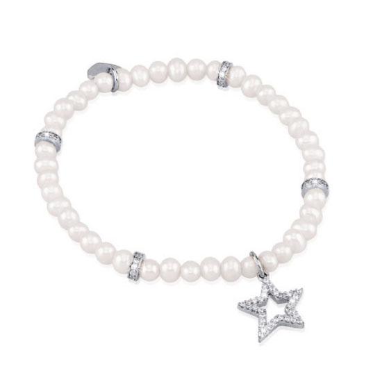 Bracciale da donna Mabina in argento con perle e zirconi - Medium