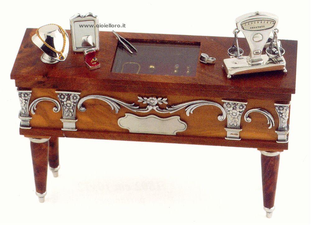 Banco gioielliere in argento 925/000 e legno