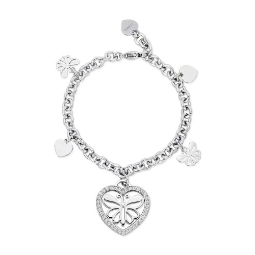 Bracciale 2Jewels donna CARPE DIEM in acciaio e cristalli - charm cuore e farfalla