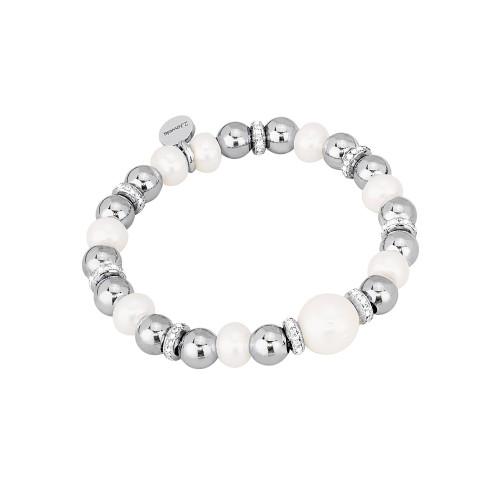 Bracciale 2jewels STRETCH in acciaio Perle e cristalli M