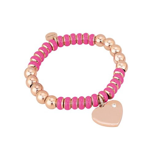 Bracciale 2jewels STRETCH in acciaio con smalti e cristalli Rosa S