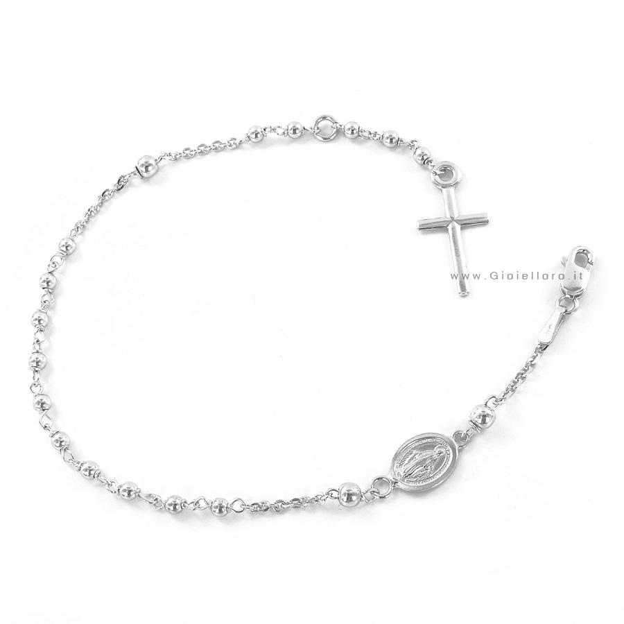 Bracciale Rosario in oro bianco con medaglia Madonna Miracolosa e Croce