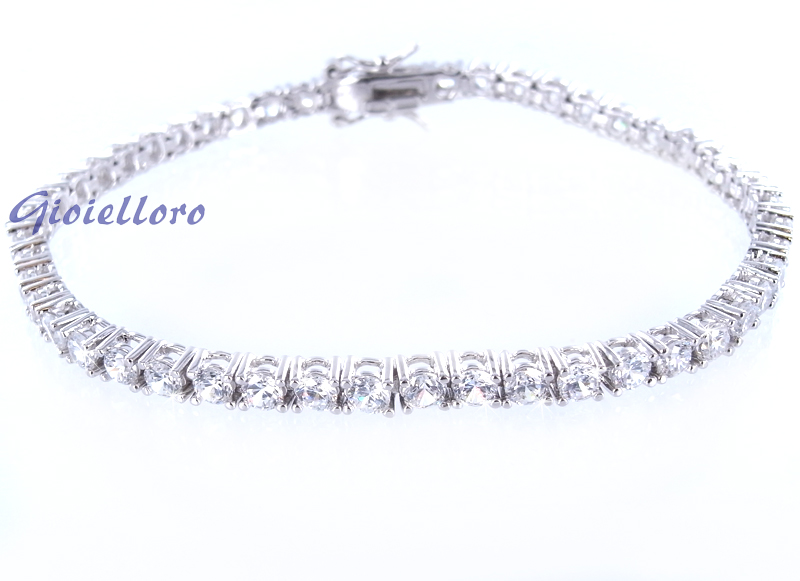 Bracciale Tennis in argento con zirconi 4 mm