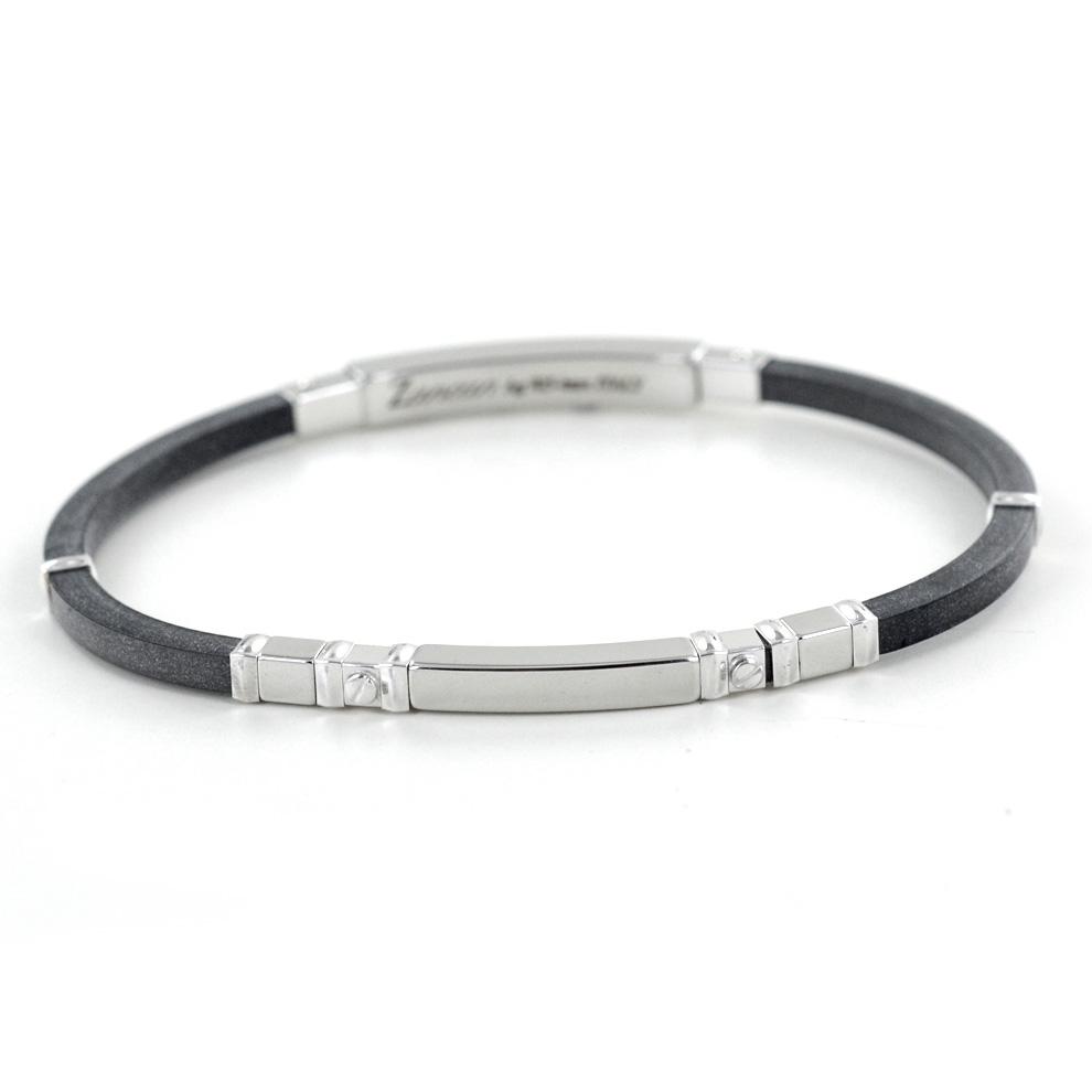 Bracciale Zancan da uomo in argento e caucciu' ESB029B-N